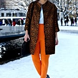 A skilled mix of statement pants and a high-impact coat that complemented and didn't compete.