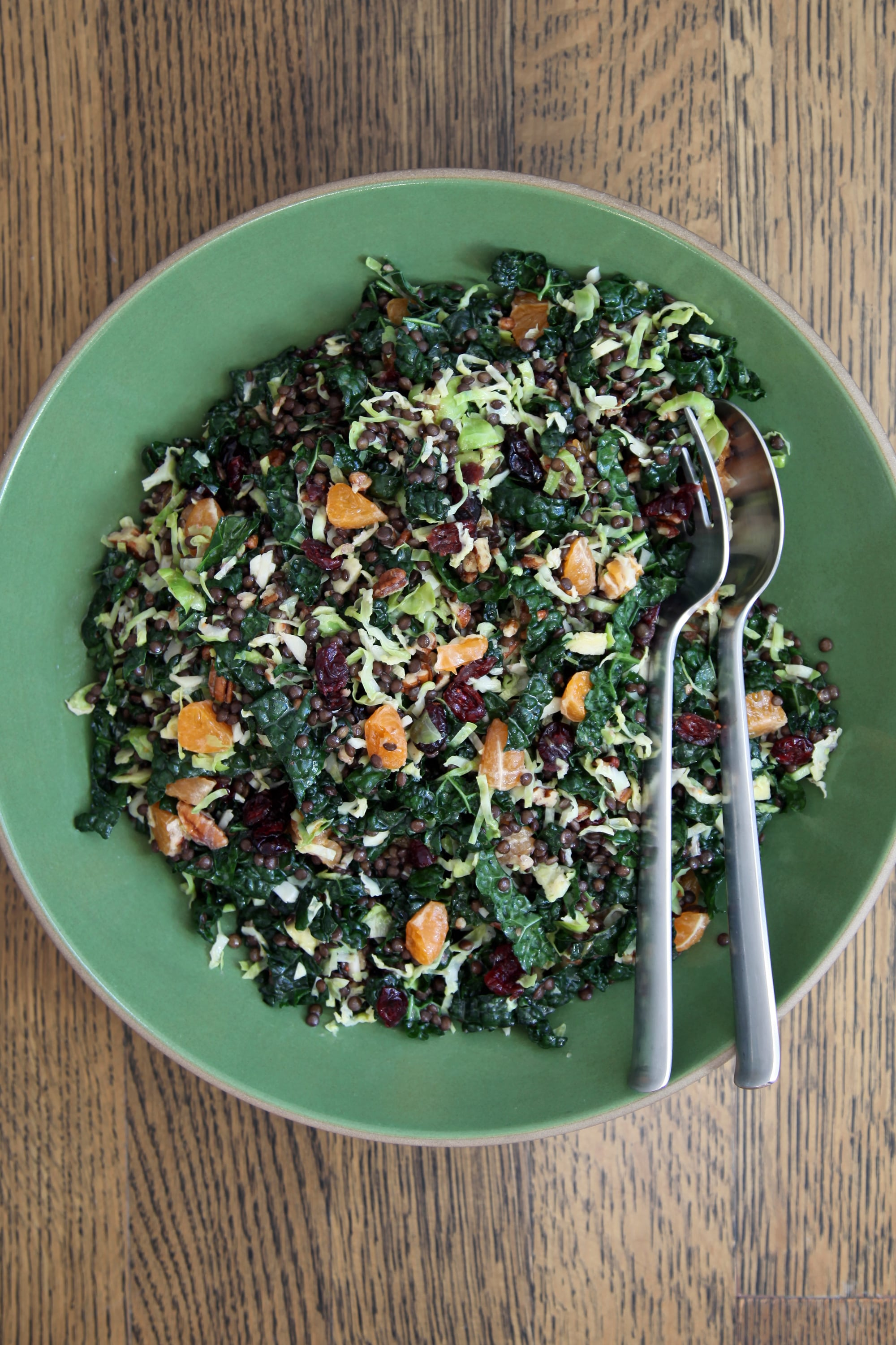 Brussels Sprout Lentil And Kale Salad With Cranberries Popsugar Food