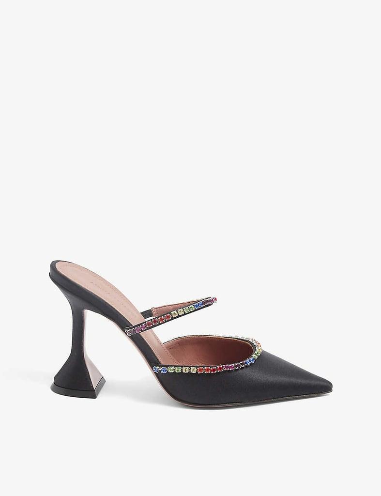 A Dream Pair: Amina Muaddi Gilda Crystal-Embellished Leather Heeled Mules