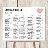 Alphabetical Seating Chart Sign