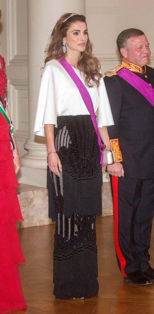 Queen Rania Wearing Her Balmain Skirt at a Gala Dinner