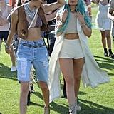 She rocked a crop top and short shorts at Coachella 2015.