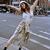 UO Satin V-Back Slip Midi Dress
