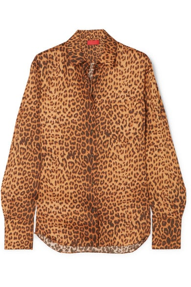 Commission Banker Leopard-Print Satin-Twill Shirt