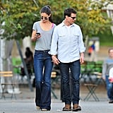 Tom Cruise and Katie Holmes held hands in Pittsburg.