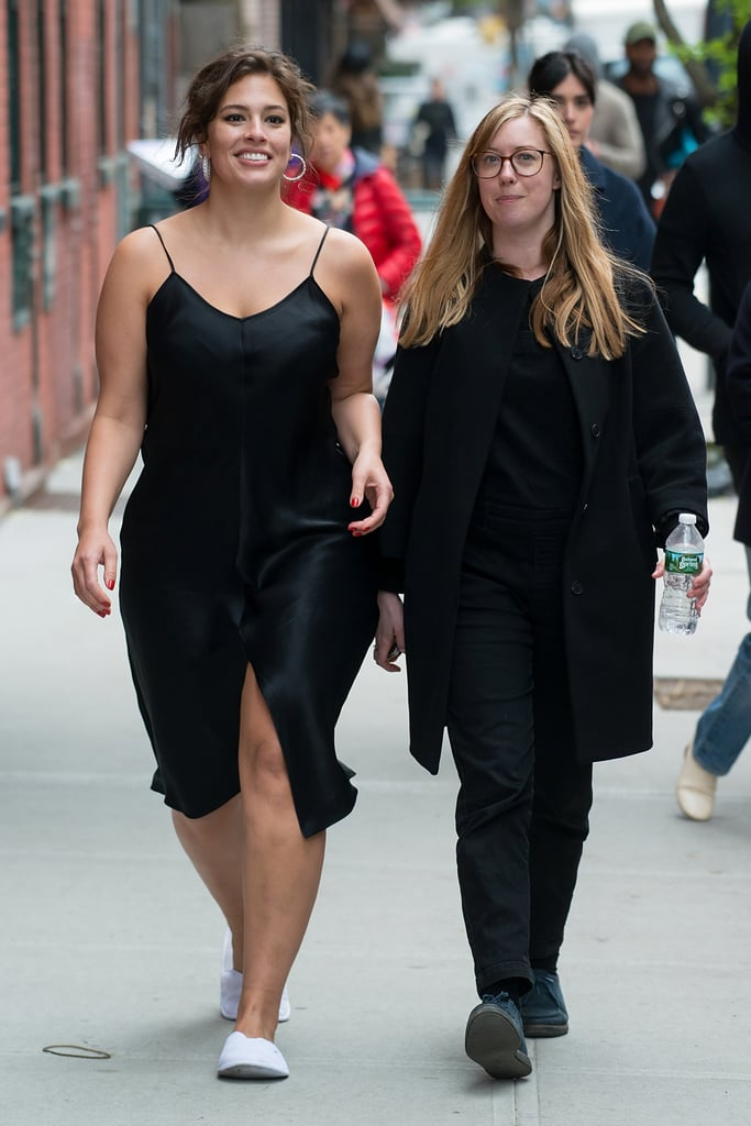 Ashley Graham wore a simple black slip dress you could easily pair with sneakers or heels.