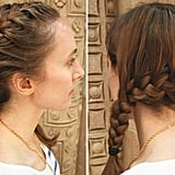 Try to gather all the hair into the french braid by the time you hit the bottom of the left ear. Once all the hair is incorporated, finish braiding traditionally. Secure with an elastic band.