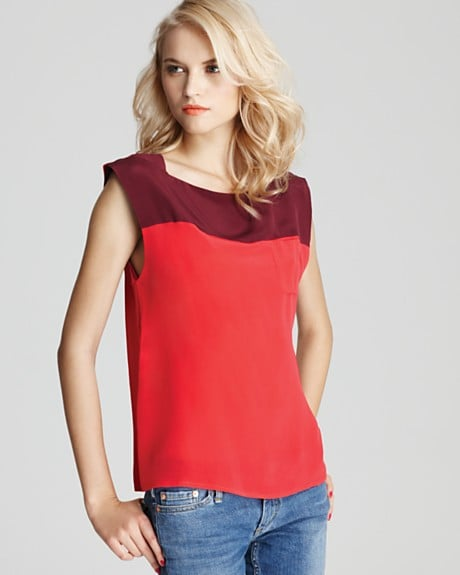 Create a standout outfit and pair this top with a pencil skirt and cap-toe pumps for a chic approach to colorblocking.  French Connection Sarah Block Top ($118)