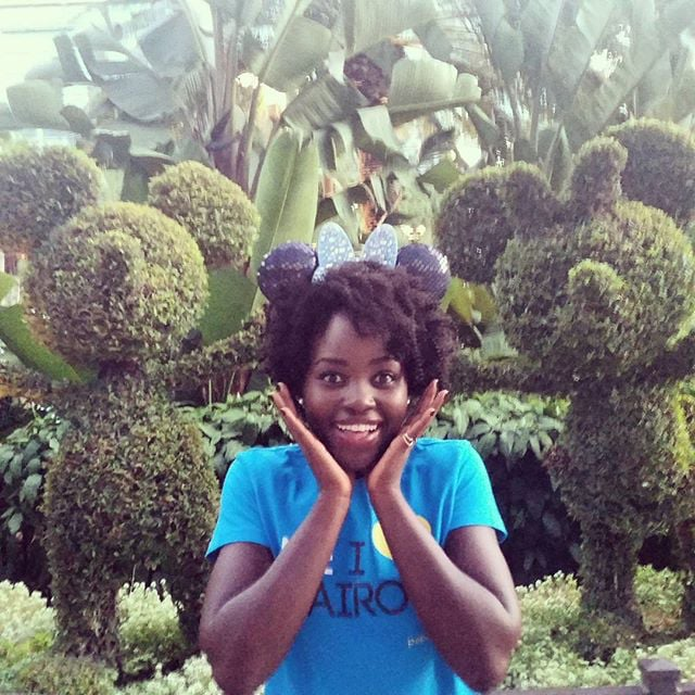 "In the midst of D23 Expo excitement, Lupita Nyong'o spent a day at Disneyland in August 2015. She wrote in the caption, ""First trip to #Disneyland!!! #myfirstears. Mummy, this is for you! #d23expo @disneystudios."""
