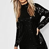 Boohoo Gemma Collins High Neck Sequin Shift Dress