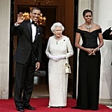 The first lady donned an elegant Ralph Lauren gown for a dinner at the US Embassy in London.