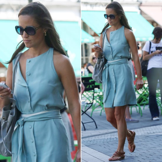 Pippa Middleton Wearing Blue Dress in London