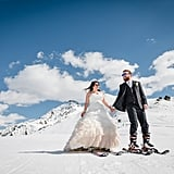 Most newlyweds share a first dance after exchanging vows, but Bec and Dan replaced the tradition with their first ski as husband and wife at Mayrhofen in Austria. See the wedding here!
