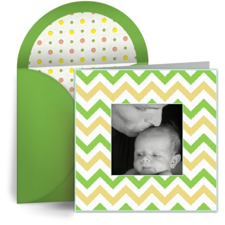 Customize this chic chevron greeting with one of your own favorite photos.