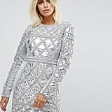 A Star Is Born Embellished Mini Dress With Metallic Quilted Detail