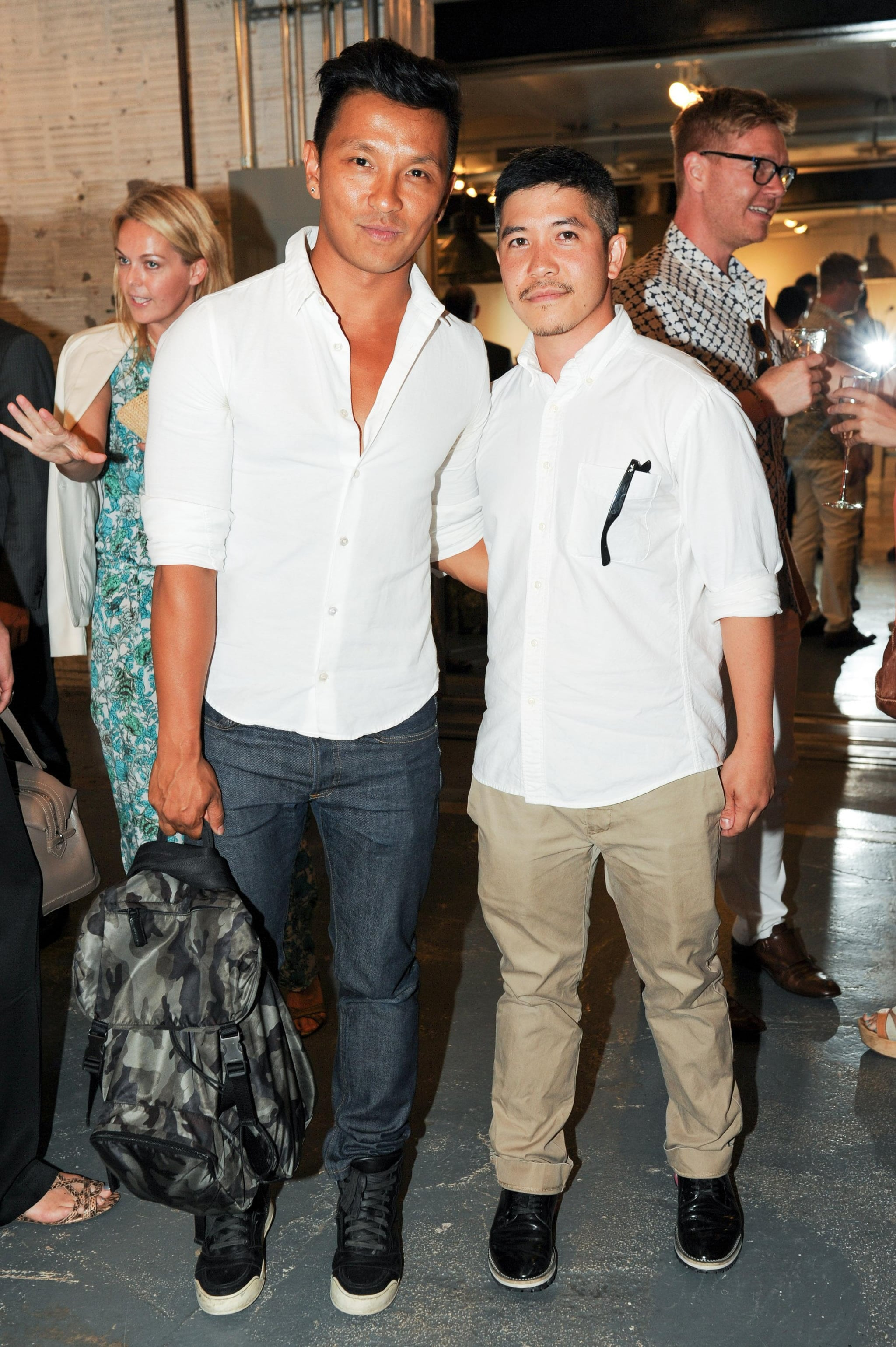 Fellow designers Prabal Gurung and Thakoon Panichgul were thinking alike when they paired white button-downs, black sneakers, and relaxed pants for last night's CFDA event.
