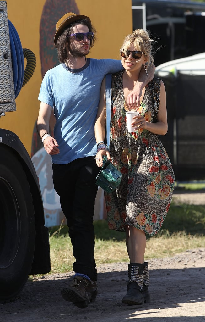 To take in a show with guy Tom Sturridge, Sienna Miller picked a boho floral silk dress from Topshop and studded motorcycle boots by Ash.