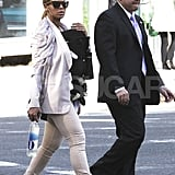 Beyonce Knowles and Blue Carter walking around NYC.