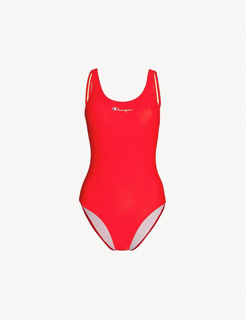 60fbe6b3ba7 Khloe Kardashian Red Louis Vuitton Supreme Swimsuit | POPSUGAR Fashion