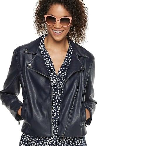 POPSUGAR Crop Faux-Leather Moto Jacket