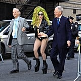 Lady Gaga was assisted by David Letterman and Bill Murray when she dropped by The Late Show in NYC on Wednesday.