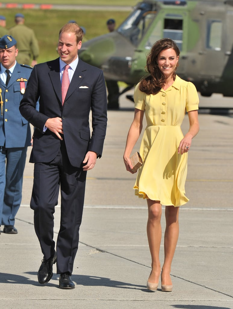 July 7th, 2011 Arriving in Calgary, Canada.   Kate wears a yellow silk Jenny Packham dress. She accesorized with nude Sledge2 LK  Bennett pumps, Kiki Citrine earrings, and a straw LK Bennett  clutch.