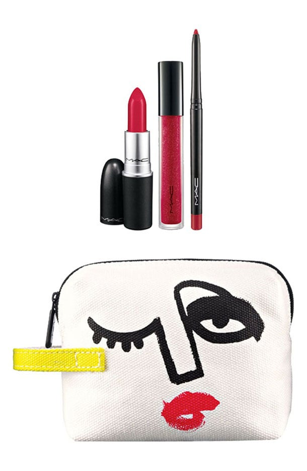 Triple Feature Lip Bag in Red