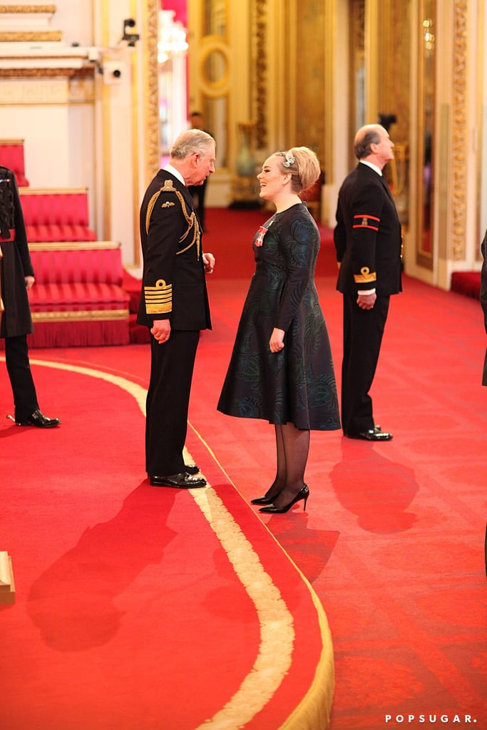 In December 2013, Adele was made a Member of the Most Excellent Order of the British Empire for her contribution to music. She took part in an investiture service with Prince Charles.