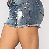Fashion Nova Hidden Treasure Pearl Denim Shorts