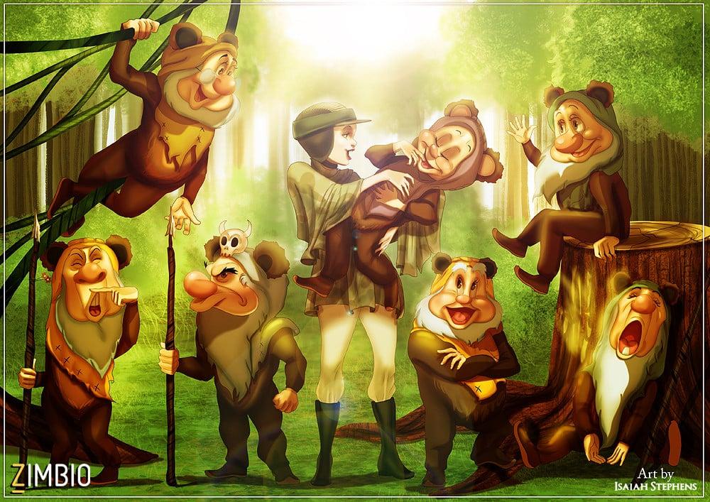 Snow White and the Seven Dwarfs as Leia With the Ewoks