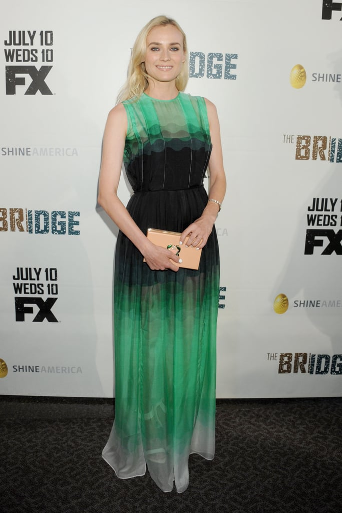 Kruger took the punk-chic route donning an ethereal yet edgy emerald and black Jonathan Saunders creation for the series premiere of The Bridge in LA.