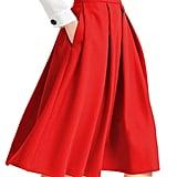Yige High Waist Flared Skirt Pleated Midi Skirt