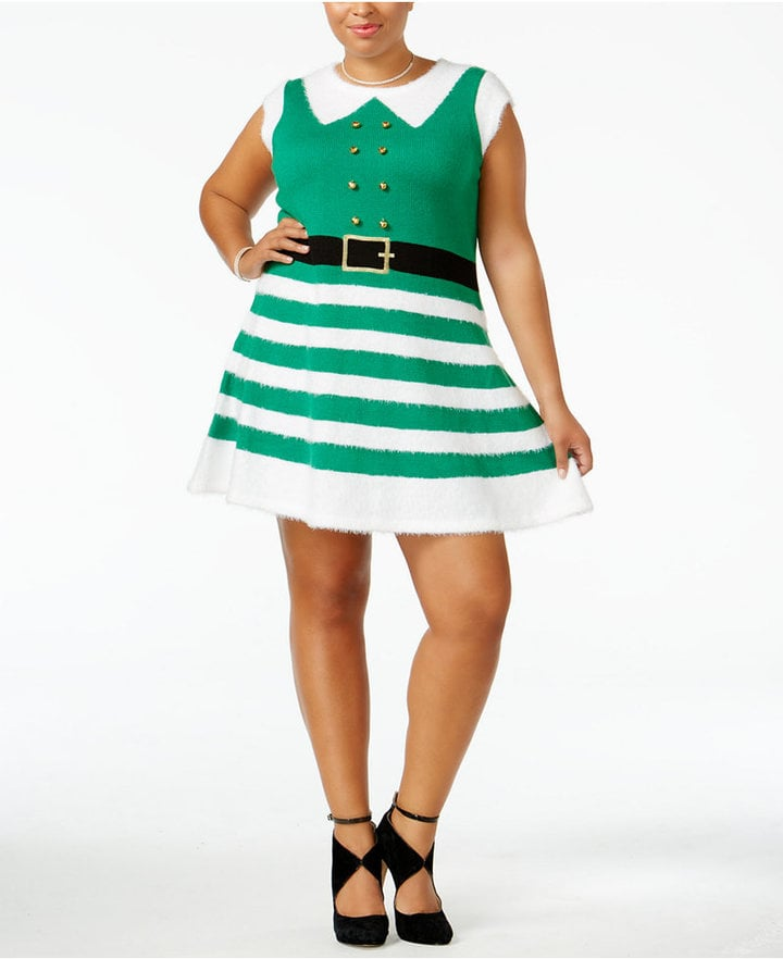 It S Our Time Trendy Plus Size Elf Holiday Sweater Dress