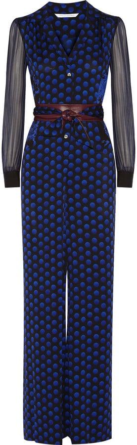 Diane von Furstenberg Cathy Printed Stretch-Silk Jumpsuit ($420, originally $700)