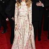 Sarah Jessica Parker was all smiles in Valentino.