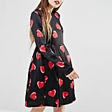 Love Moschino All Over Heart Print Long Sleeve Dress