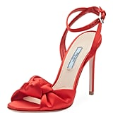 Prada Satin Knot-Front Sandals