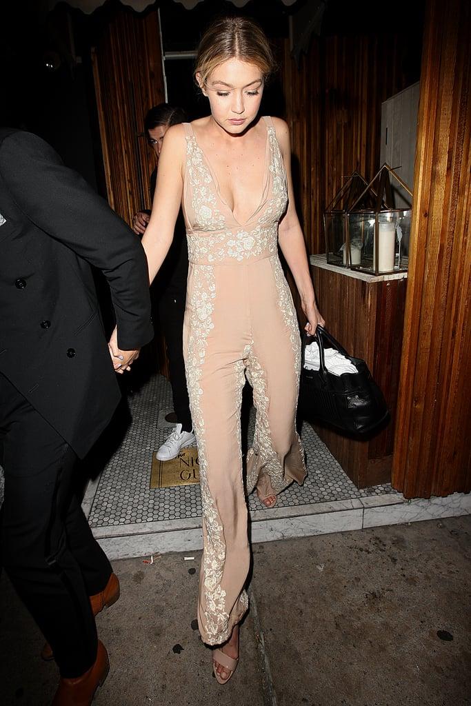 Gigi Hadid's Birthday Party Floral Jumpsuit 2015