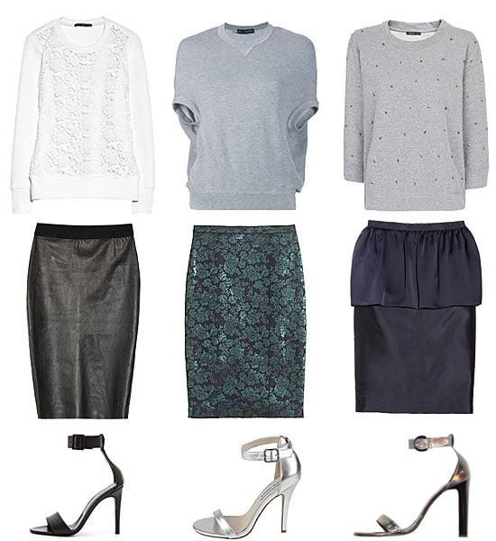 how to wear a pencil skirt and sweatshirt popsugar fashion