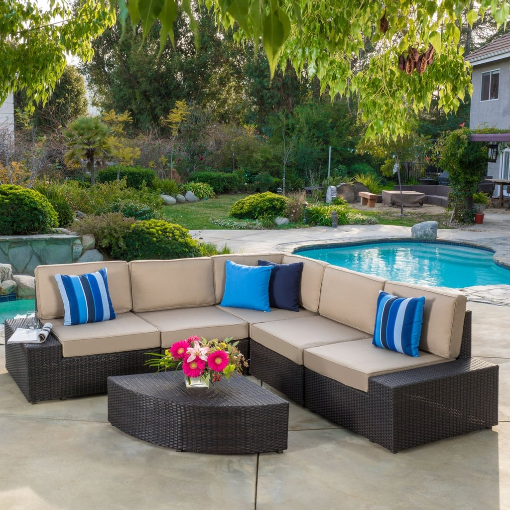 Sepulveda Dark Brown 6 Piece Wicker Outdoor Sectional Sofa Set With
