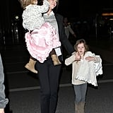 Nicole Kidman was accompanied by her daughters Faith Urban and Sunday Urban to travel through LAX.