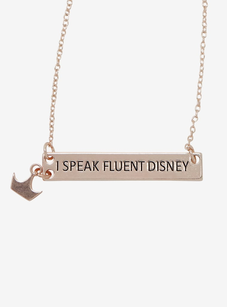 Her Universe Destination Disney I Speak Fluent Disney Crown Nameplate Necklace