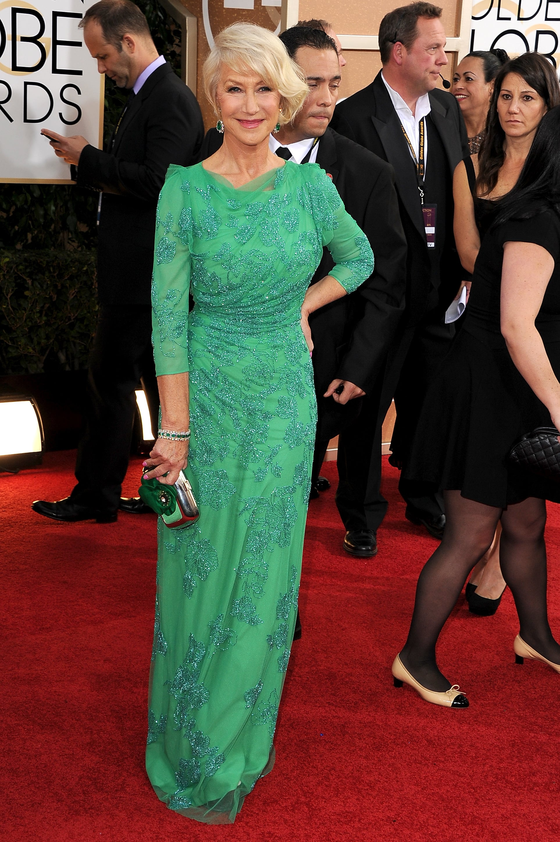 Helen Mirren was a vision in her green gown.