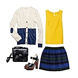 Dress up your sweater with a brightly colored tank and printed miniskirt — the bold hue will add intrigue, especially when paired with a print. Add stacked heels and a polished leather satchel, and feel free to pop on a pair of tights if the weather calls for them. Get the look:   Madewell Colorblock Heartnote Cardigan ($72)  Kain Campbell Silk and Linen Tank ($180)  Maje Jacquard Skirt ($280)  KORS Michael Kors Kimber Platform Sandal ($325)  West Coast Wardrobe Batchel Satchel ($57)