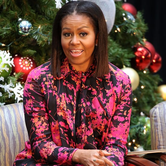 Michelle Obama's Pink Floral Blouse December 2016