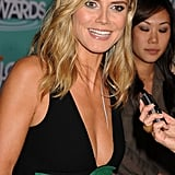 Heidi Klum chatted with reporters before the show.