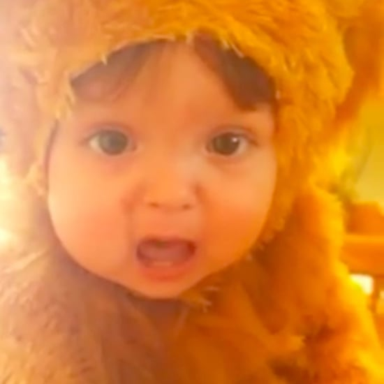 Baby Dressed as Lion Trying to Roar