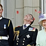 Prince Harry and the queen were in high spirits during the National Commemoration Day celebrations in 2005.