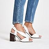 River Island White Wide-Fit Cross-Strap Block-Heel Sandals