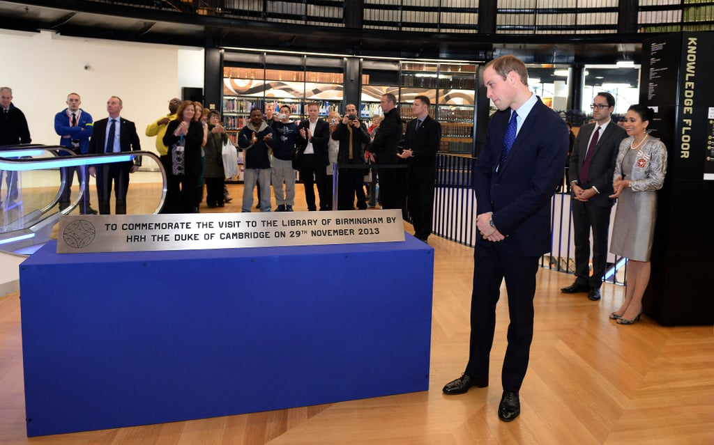 Prince William unveiled a plaque commemorating his visit to the Birmingham Library.